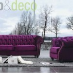 1-Canapele stofa Tongo model tip Chesterfield violet
