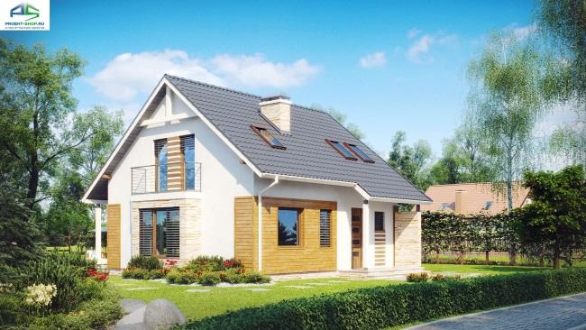 1-Proiect casa mica cu mansarda si 3 dormitoare fatada