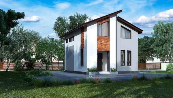 1-Proiect casa moderna cu mansarda suprafata totala sub 80 mp
