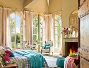 1-accente turcoaz in amenajarea unui dormitor in stil spaniol