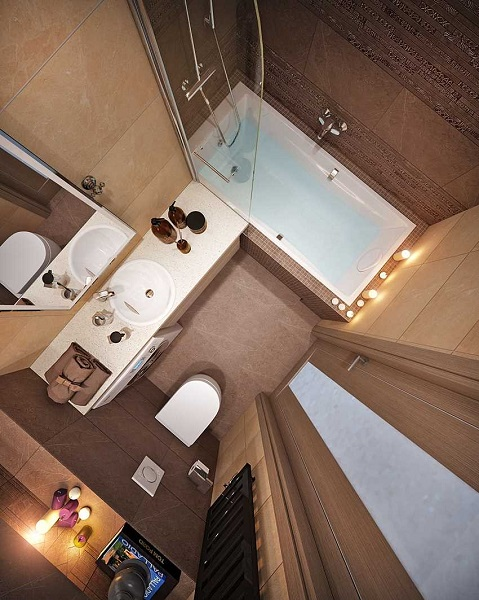 1-amenajare baie moderna finisata in bej si cappuccino