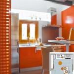 1-amenajare bucatarie open space de 5 mp cu mobila portocalie si accesorii din inox