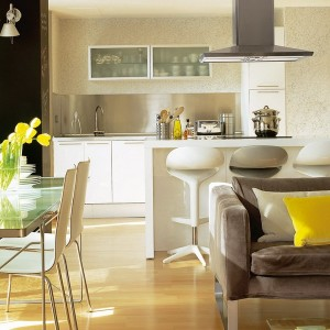 1-amenajare bucatarie si living open space modern apartament mic