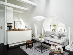 1-amenajare in stil scandinav intr-un mic apartament mansardat