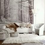1-amenajare living alb imaculat mobila alba si decorat cu fototapet in alb si negru