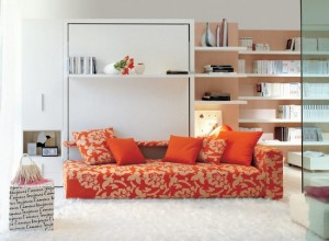 1-ansamblu mobilier cu dulap biblioteca pat rabatabil la perete si canapea