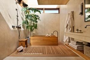1-baie amenajata modern SPA cu pardoseala din lemn