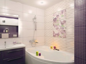 1-baie apartament cada pe colt amenajata in alb si mov inchis