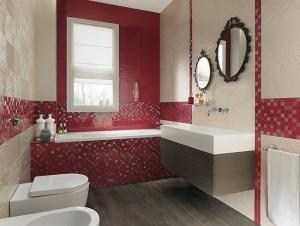 1-baie decor modern minimalist in alb si rosu