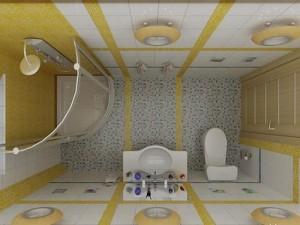 1-baie mica moderna finisata in alb si galben