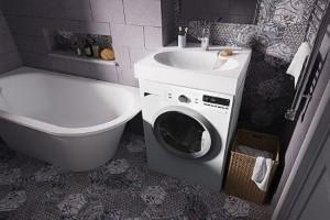 Masina de spalat sub lavoar sau chiuveta intr-o baie mica