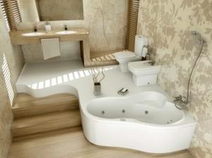 1-baie moderna spatioasa decorata cu tapet din vinil cu imprimeu floral