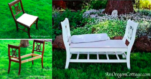 1-bancheta DIY confectionata din doua scaune vechi unite intre ele