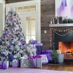 Amenajare moderna de Craciun in alb, gri, violet si lila