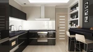 1-bucatarie minimalista cu mobila neagra