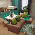 1-bucatarie moderna alb si turcoaz living open space
