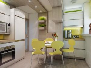 1-bucatarie moderna in alb si galben extinsa in balcon