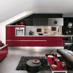 1-bucatarie moderna mansarda mobila rosu negru si alb