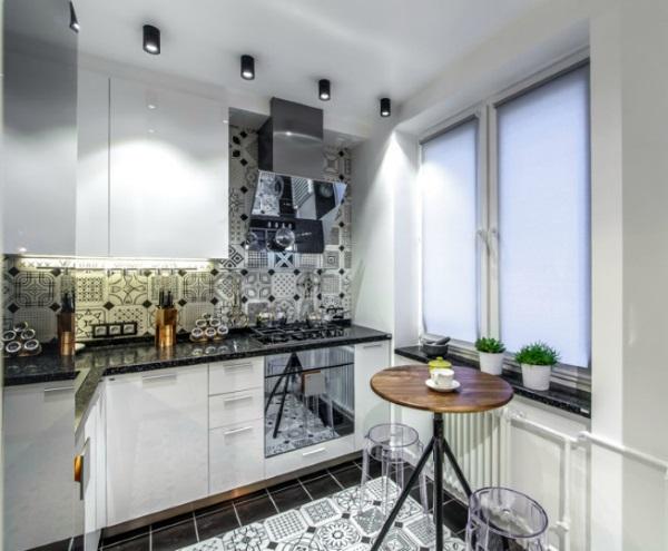 1-bucatarie moderna mica de bloc in alb si negru