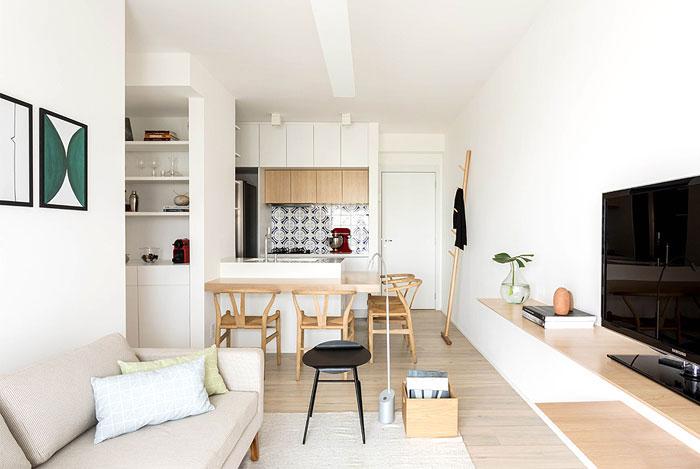 bucatarie open space cu living apartament