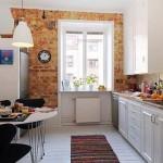 1-bucatarie scandinava mobila alba perete placat cu caramida aparenta