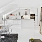 1-bucatarie si living open space apartament 2 camere decorat in alb