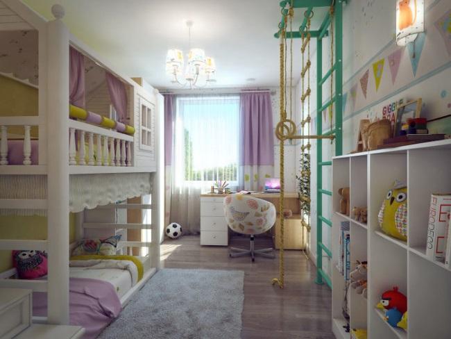 1-camera vesela si colorata cu mobila alba pentru doi copii