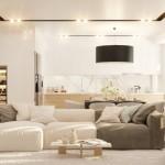 1-canapea bicolora amenajare living open space cu bucatarie proiect D3 Design