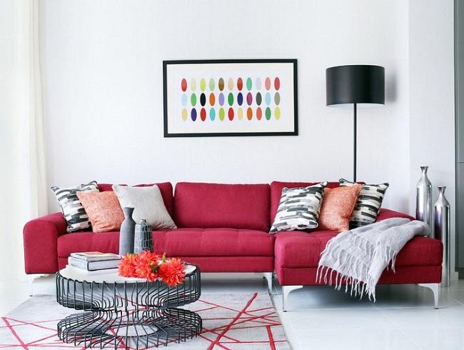 1-canapea coltar rosu decor living modern pereti albi