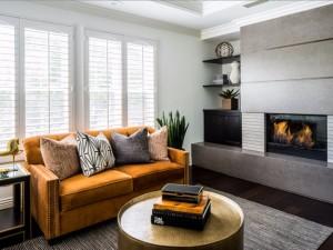 1-canapea galben mustar in amenajarea unui living modern gri