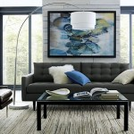 1-canapea gri design modern asortata cu accesorii bleu decor living