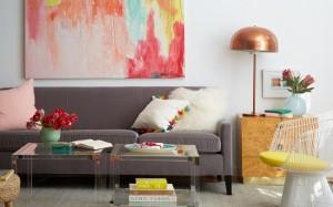 1-canapea gri in decor retro inspirat de anii 70