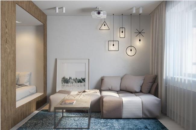 1-canapea in zona de relaxare a garsonierei de 30 mp Sankt Petersburg