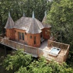 1-castel din lemn construit in stejari cu terasa si jacuzzi Dordogne Franta