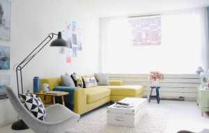 1-coltar living galben in decor modern scandinav