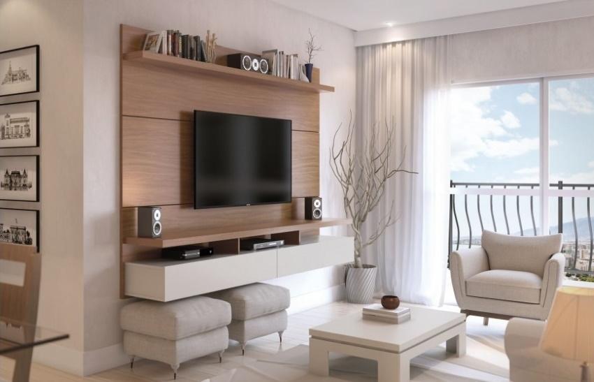 comoda tv suspendata bicolora cu sertare living