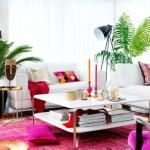 1-covor ciclam asortat decoratiunilor si textilelor dintr-un living alb