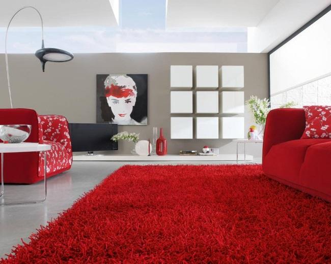 1-covor rosu asortat cu canapeau rosie living modern