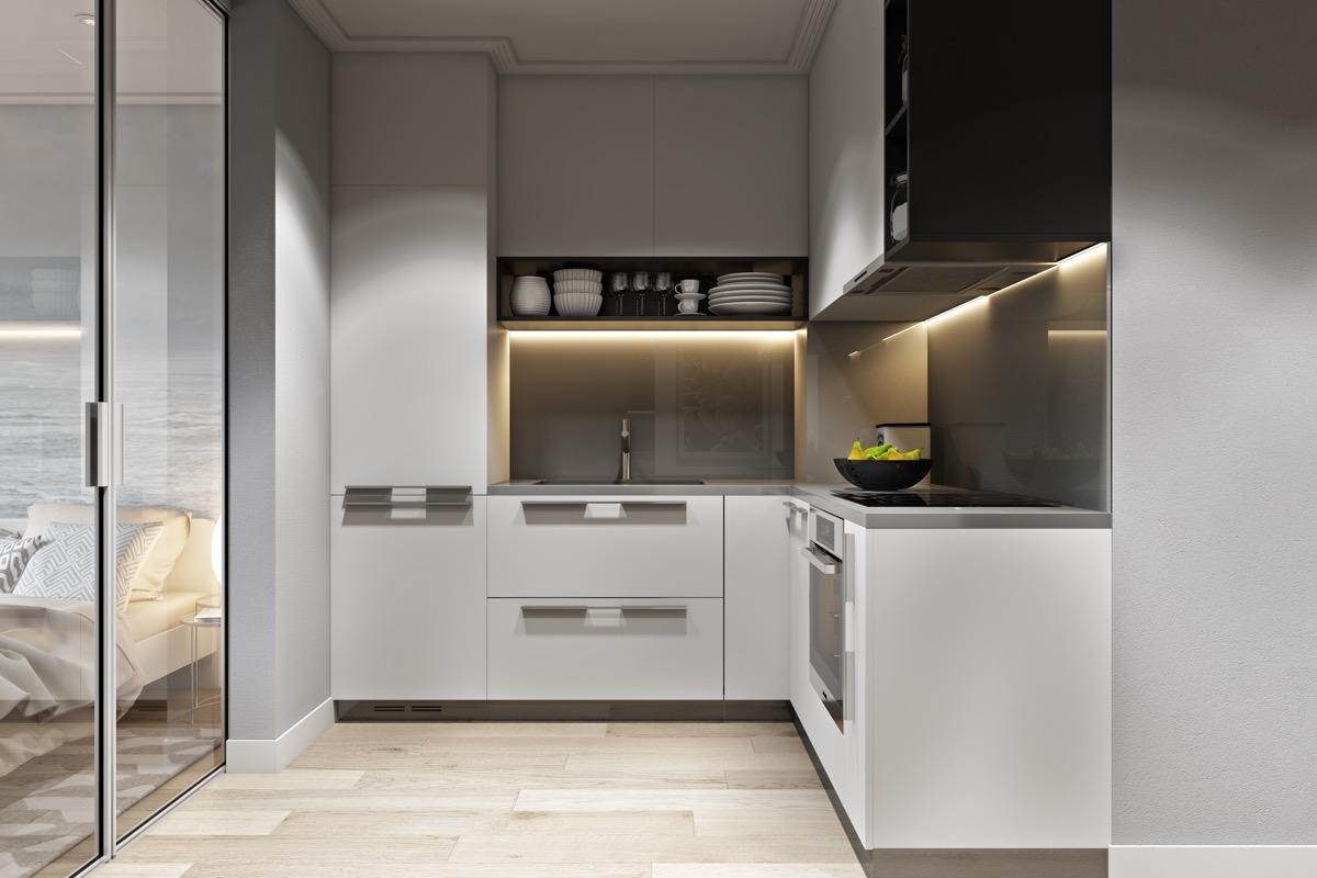 1-design modern bucatarie alba electrocasnice incorporate