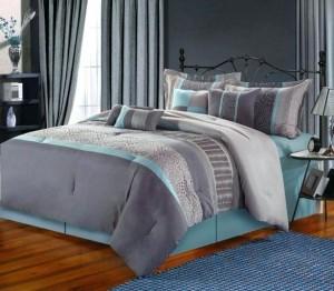 1-dormitor amenajat in gri cu accente subtile bleu turcoaz