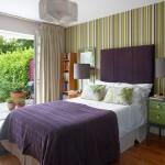 1-dormitor elegant decorat in violet si verde olive