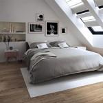1-dormitor modern amenajat in mansarda in culori pastelate