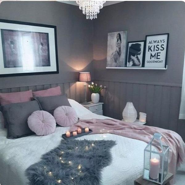 1-dormitor romantic scandinav zugravit in gri decorat cu accente roz