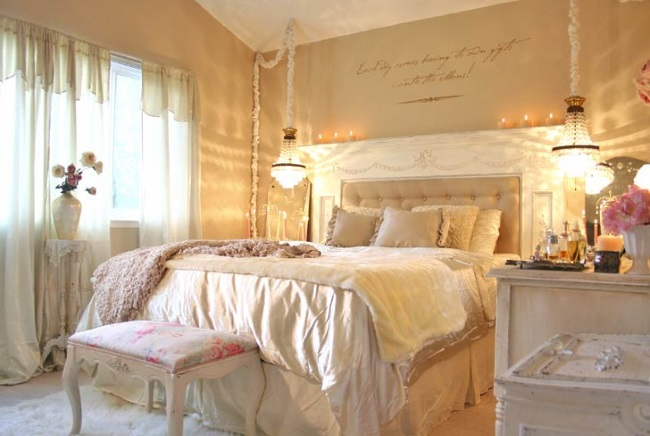 1-dormitor schabby chic amenajat si decorat in nuante de piersica