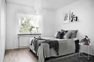 1-dormitor stil scandinav pereti albi mobila si accesorii gri si negre