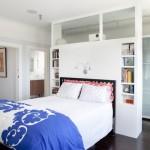 Dormitoare lungi si inguste – dressingul din spatele peretelui de la capul patului