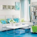 1-exemplu amenajare living alb cu accente colorate bleu si vernil