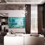 1-exemplu amenajare living modern cu acvariu mare in perete