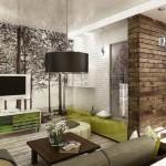 1-exemplu de amenajare living de apartament stil eco in tonuri de maro si verde