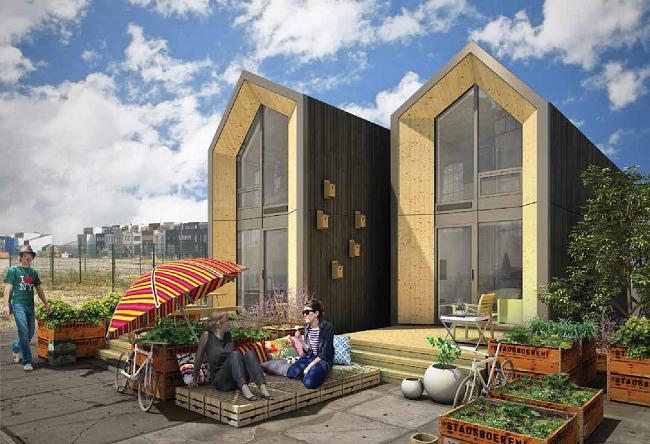 1-exterior case modulare prefabricate mici 45 mp cu etaj model Heijmans One Amsterdam Olanda